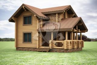 Сруб дома из бревна Проект дома из кедра Василина