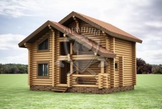 Сруб дома из бревна Проект дома из сосны Жанна