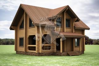 Сруб дома из бревна Виктория