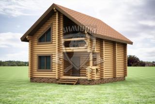 Сруб дома из бревна Карина