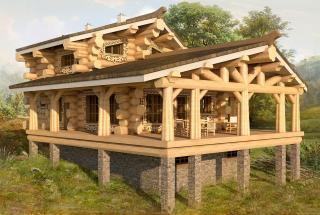 Сруб дома из бревна Проект дома Хэльвард